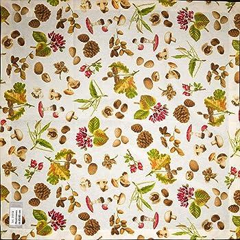 8a29d3ba43c39 Herbst Mitteldecke, Motiv Pilze, ca. 85x85 cm mit Saumkante und  Kuvertecken, Farbe creme bunt, 13419