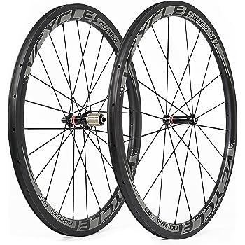 VCYCLE Nopea Frente 40mm Trasero 45mm Fibra de Carbono Carretera Ruedas 700C Bicicleta Ruedas Remachador 25mm Anchura U Forma Shimano o Sram de 8/9/10/11 ...