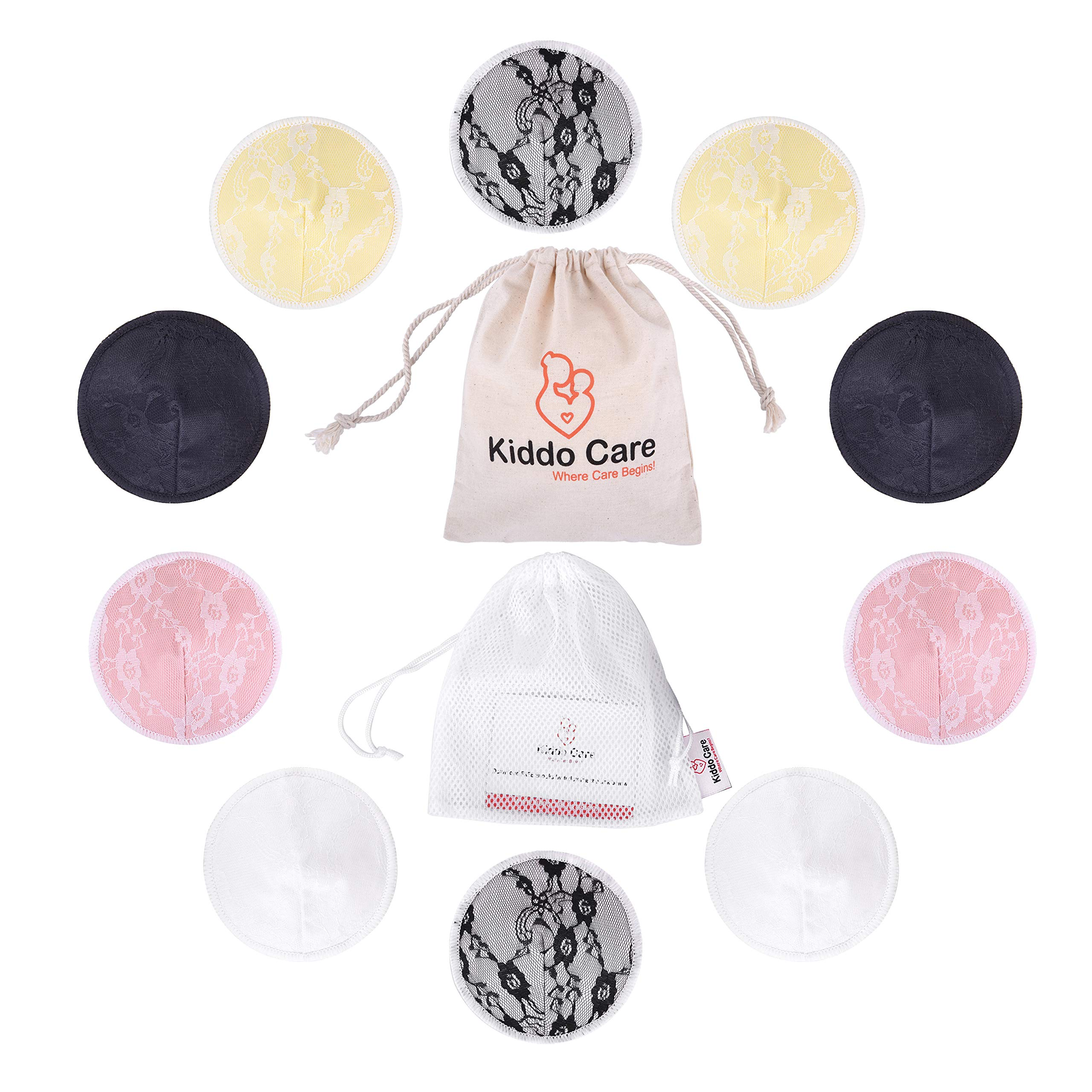 BEST Washable Organic Bamboo Nursing Pads -8 PACK Ultra soft Leakproof 4 pairs 2 FREE Ebooks !! Waterproof absorbent pads Colored- Reusable Breast Pads,Bra pads