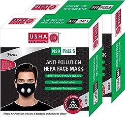 Usha Shriram FRESCO N99 PM2.5 HEPA Anti Pollution Face Mask (Pack of 2) Air Mask