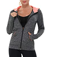 AMZSPORT Women's Running Jacket Long Sleeve Sports Gym Hoodies Yoga Fitness Top with Pockets