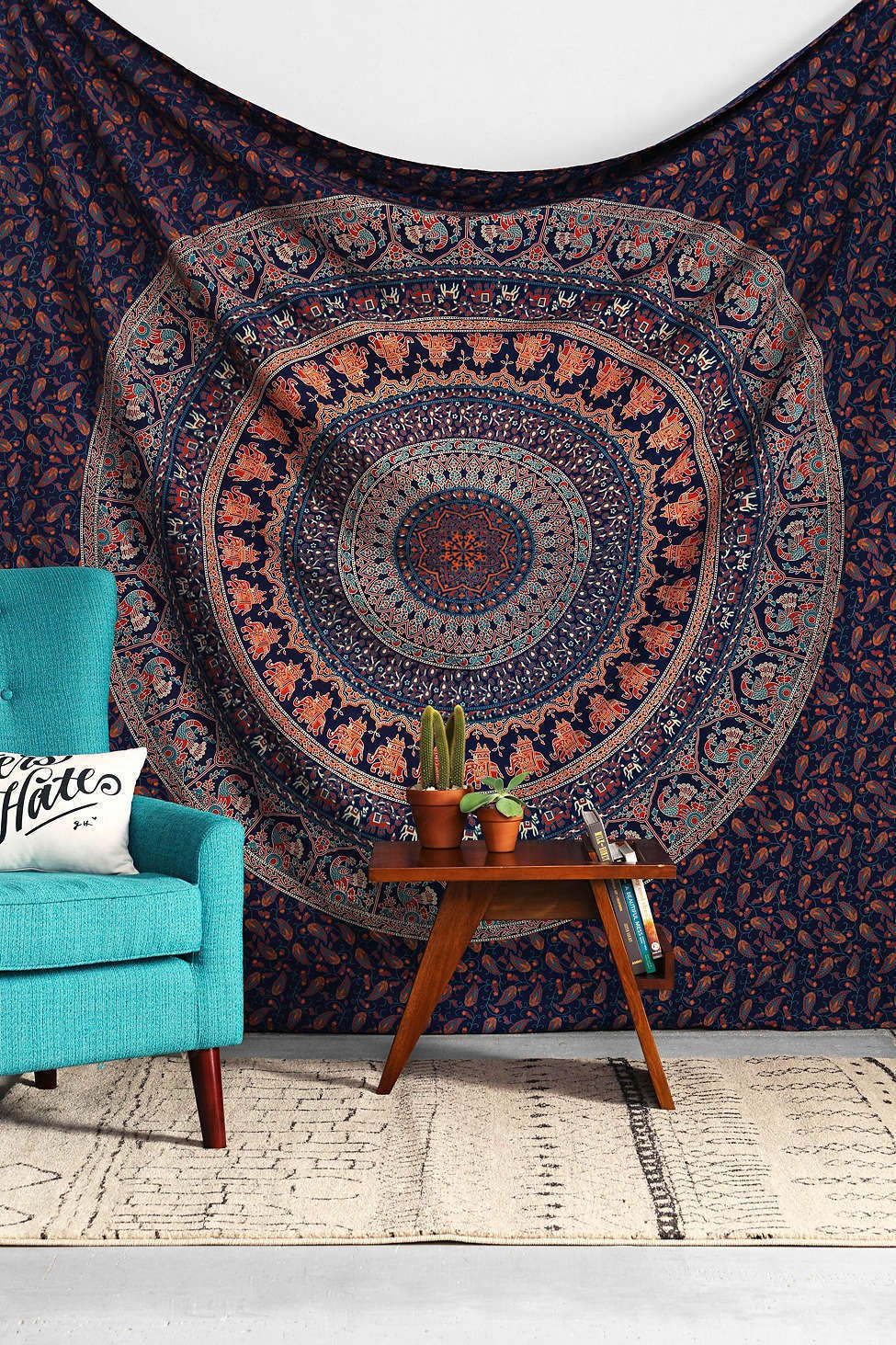 Indian Elephant Peacock Mandala Tapestry Indian Hippie