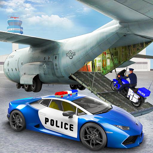 US Police Cargo Plane Transporter: Airplane Adventure Simulator Free 3D