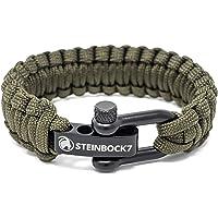 Steinbock7 - Braccialetto paracord regolabile con chiusura in acciaio inox, incluse istruzioni per l'intreccio (lingua…