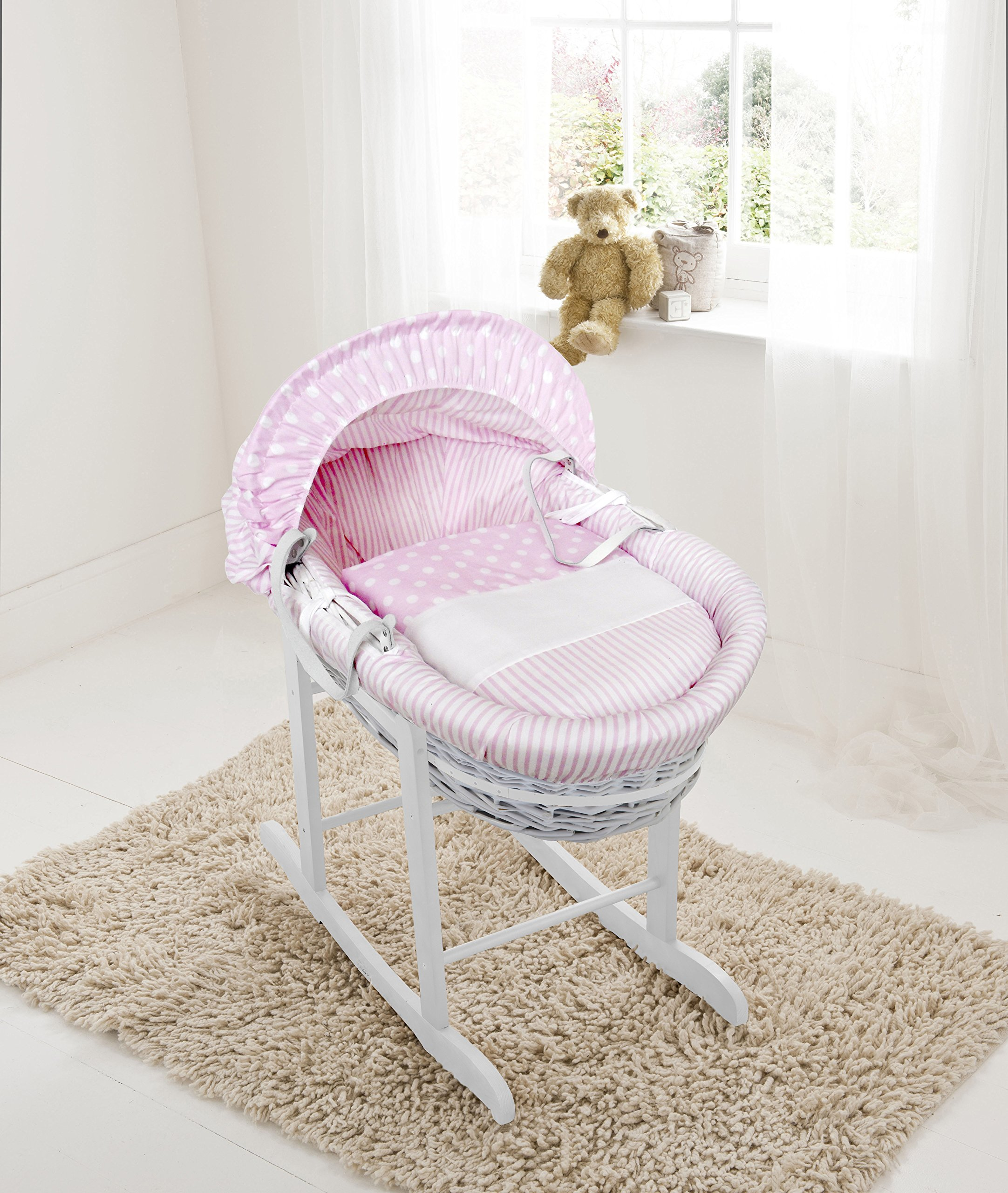 Pink Spots & Stripes White Wicker Moses Basket & Deluxe White Rocking Stand Elegant Baby Suitable from newborn for up to 9kg, this Moses Basket uses Easy-care Poly Cotton with a soft padding surround Suitable from newborn to 9 months It also includes a comfortable mattress and an adjustable hood perfect to create a cosy sleeping space for your precious little one 1