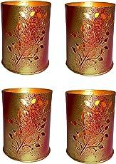 Design Villa Flowers Design Multicolor Tealight Votive Candle Holder ( Pack of 4 )