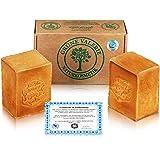 Green Valerie® Original Aleppo zeepset 2 x 200 g (400 g) met 20% / 80% laurierolie / olijfolie, pH-waarde 8 detox, handgemaak