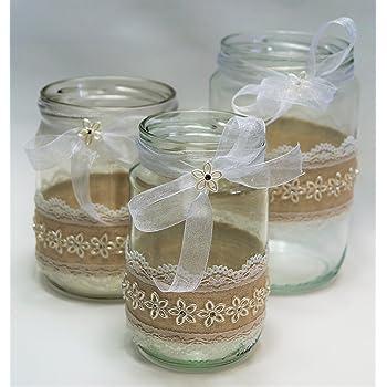 3 Windlichter Vasen Hochzeit Tischdeko Herz Spitze Vintage Taufe