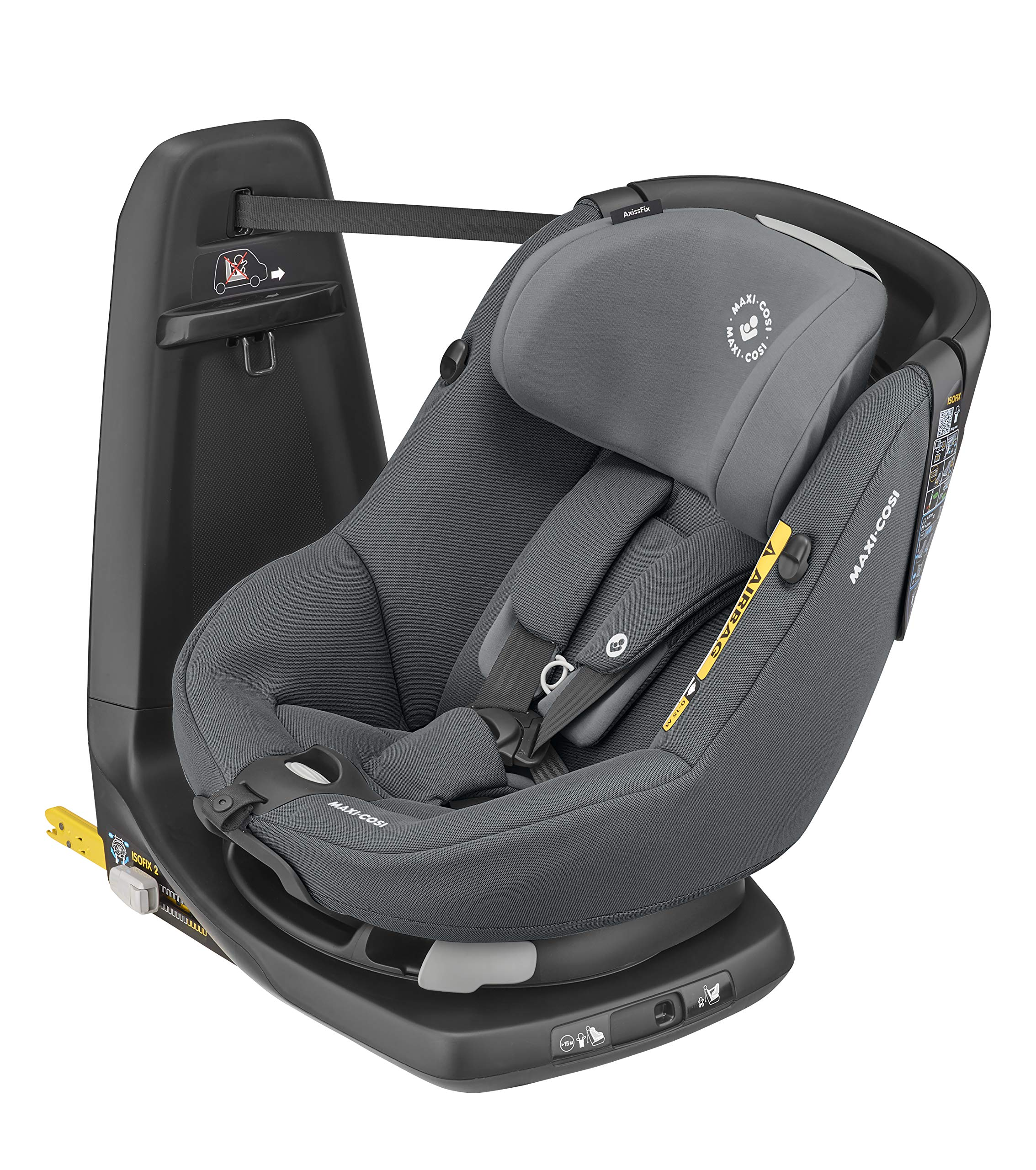 Maxi-Cosi Axissfix Toddler Car Seat, Swivel Car Seat, 4 Months - 4 Years, 61-105 cm, Authentic Graphite Maxi-Cosi Toddler car seat, suitable from approx. 4 months up to 4 years (61 - 105 cm) 360° swivel car seat, to easily get your child in and out the seat I-size (r129) car seat legislation, due to extended rearward-facing travel and improved side impact protection 1