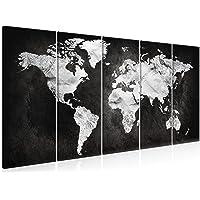 decomonkey | Impression sur Toile intissée Carte du Monde 200x80 cm | 5 Pieces | Tableau Mural Image sur Toile Photo…