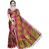 Tarshika cotton with Blouse Piece saree (TK-IKKAT CHECKS_ Red_ Free Size)