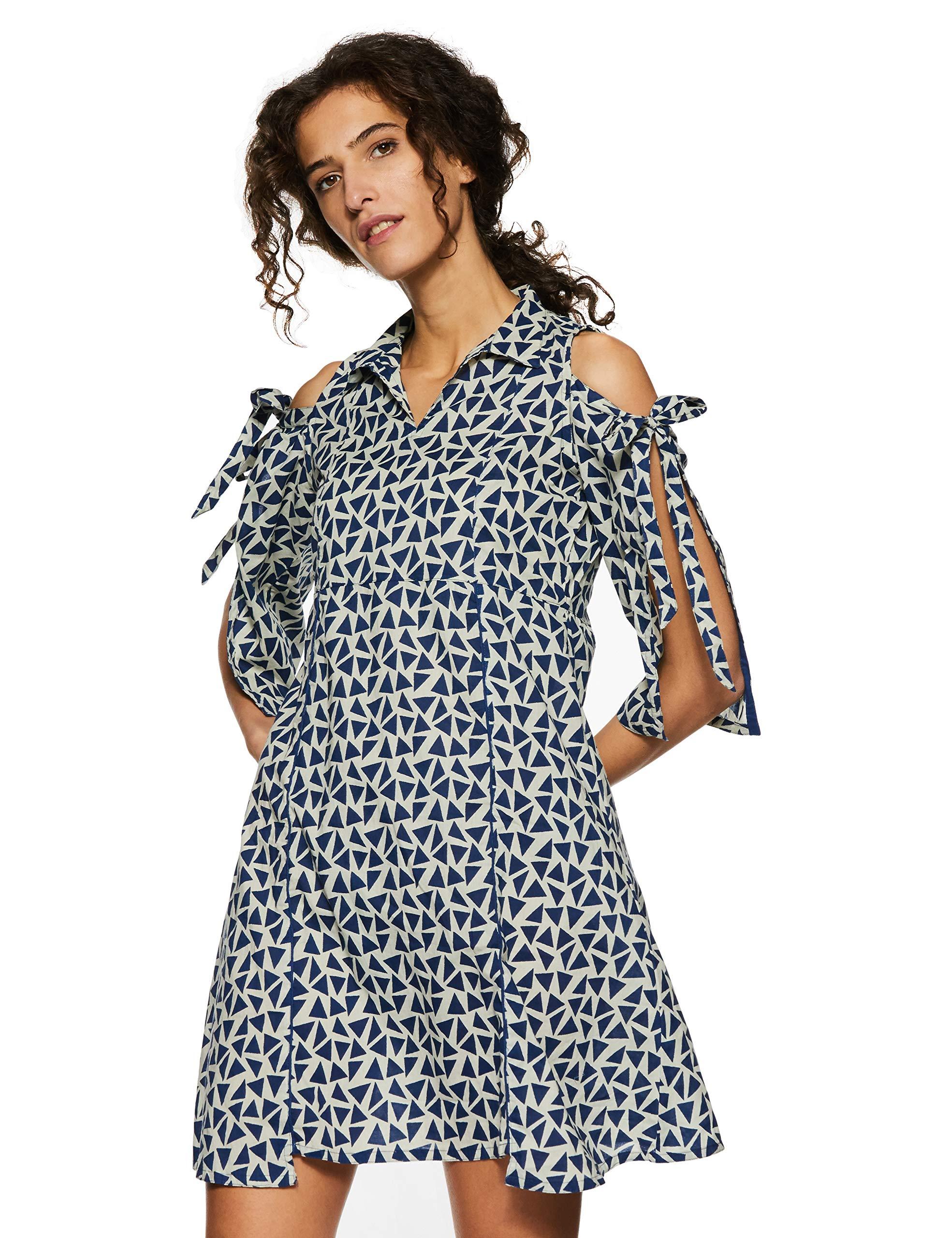 Jaipur Kurti Women A-Line Blue Geometrical Cotton Dress