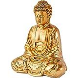 Zen'Light Statue Bouddha Or, Résine, 16 x 10 x 20 cm
