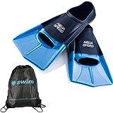 Aqua Speed Fusion Aletas largas de natación para Adultos y niños + ULTRAPOWER #Swim | Aletas de Entrenamiento de natación | A