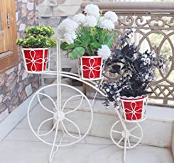 NAYAB HANDICRAFTS Bicycle Planter with Metal Garden Pot (Ivory)