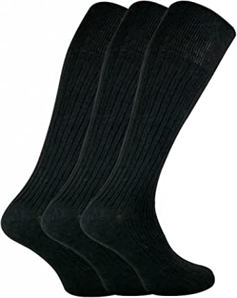 SOCK SNOB - 3 Pairs Mens Quality Long Knee High Length 100% Cotton Socks