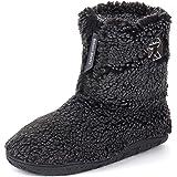 Men's Gosling Fleece Lined Sherpa Slipper Boots with Zip and Memory Foam Sole
