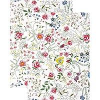 Lashuma Serviettes de Cuisine Motif coloré: vrilles de Fleurs, torchons 48x68, Ensemble de Serviettes 2 pièces