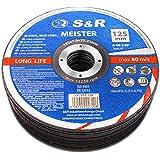 S&R Doorslijpschijf voor metaal, staal, roestvrij staal/INOX 125x1,0x22,23mm A60 S-BF, Set 25 stuks (metaal, staal, roestvrij