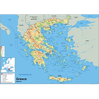 Greece Physical Map - Paper Laminated (A0 Size 84.1 x 118.9 cm ...
