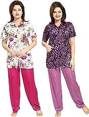 Tucute Girls Beautiful Heart print & Floral Print Pajama & Top Shirt style Nighty / Nightdress / Nightwear ( Pack of 2) ( Wine & Lavender) 1521