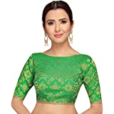 STUDIO Shringaar Pure Benaras Brocade Readymade Saree Blouse With Elbow Length Sleeves