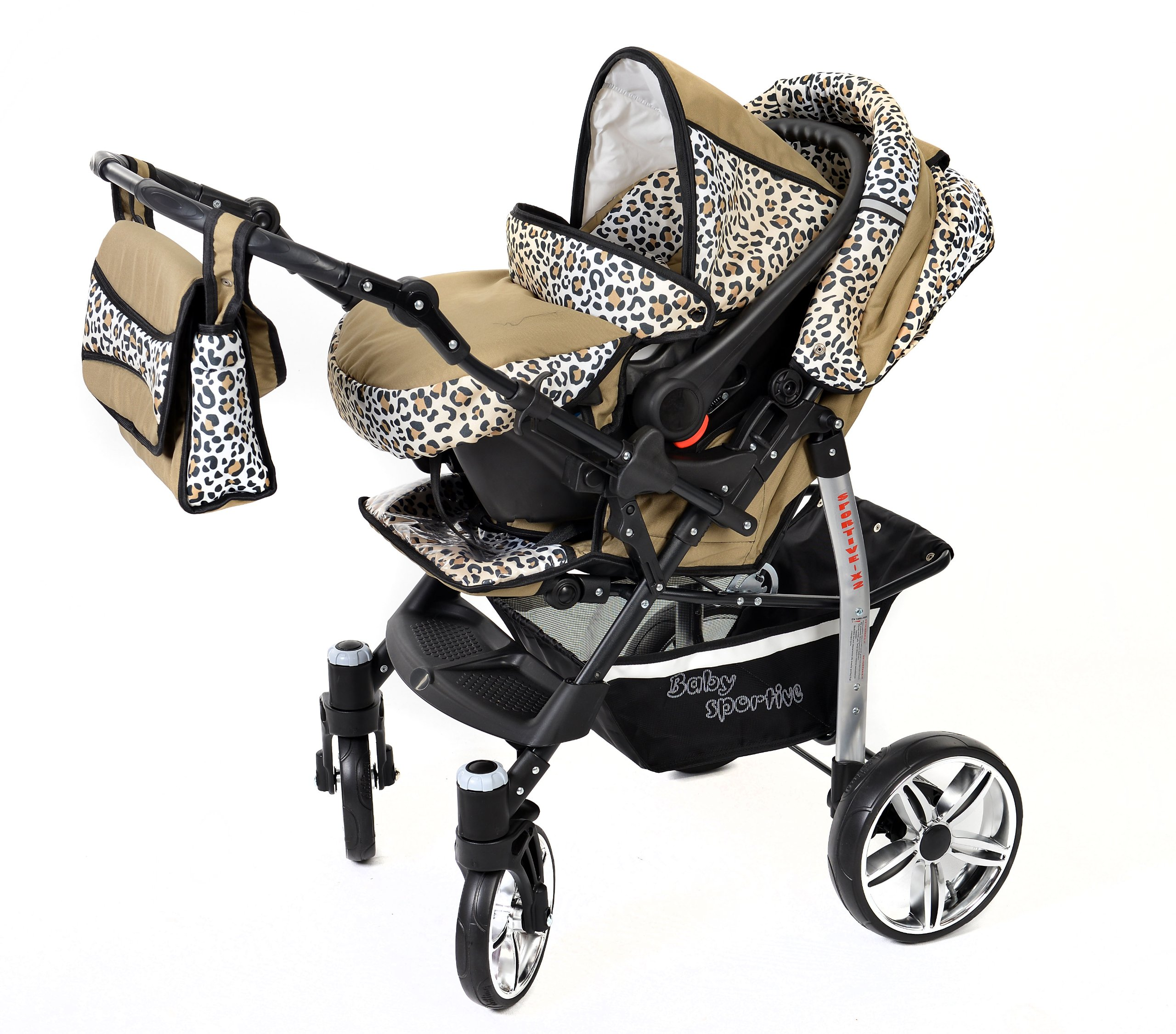Sportive X2, 3-in-1 Travel System incl. Baby Pram with Swivel Wheels, Car Seat, Pushchair & Accessories (3-in-1 Travel System, Beige & Leopard) Baby Sportive 3 in 1 Travel System All in One Set - Pram, Car Carrier Seat and Sport Buggy + Accessories: carrier bag, rain protection, mosquito net, changing mat, removable bottle holder and removable tray for your child's bits and pieces Suitable from birth, Easy Quick Folding System; Large storage basket; Turnable handle bar that allows to face or rear the drive direction; Quick release rear wheels for easy cleaning after muddy walks Front lockable 360o swivel wheels for manoeuvrability , Small sized when folded, fits into many small car trunks, Carry-cot with a removable hood, Reflective elements for better visibility 6