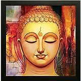SAF Buddha Vastu UV Coated Home Decorative Gift Item Framed Painting 12 inch X 12 inch SANF1000012