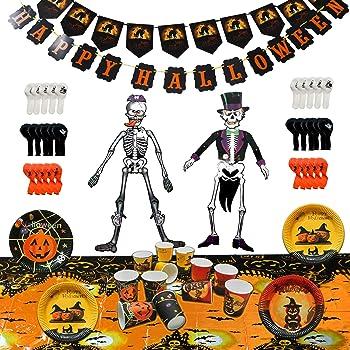 KIt Decorazione Festa Halloween Coordinato Tavola Piatti + Bicchieri ... 5444e8f70547