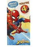 4th Birthday Card - Spiderman Birthday Card - Birthday Card 4 Year Old Boy - Badge Included