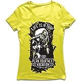 lepni.me Camiseta Mujer la Vida es un Viaje - Ideas de Regalos para Moteros, diseño gráfico de Bicicletas Vintage, amar Las M