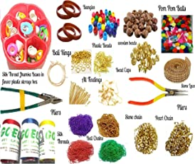 AM Silk Thread Jewellery Making Kit with Pom Pom, Plastic Beads, Wooden Beads and Storage Box, 22 Items (Multicolour, 676785)