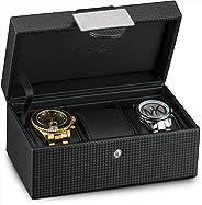 Glenor Co Travel Watch Case - 3 Slot Luxury Organizer Box, Carbon Fiber Design for Mens Jewelry Watches, Men's Storage Holder