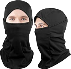 Dimples Excel Thermal Fleece Ski Balaclava Face Mask for Skiing Snowboarding Motorcycle Cycling Mountaineering Hunting Winter Sport (2 Pack) (Thermal Fleece Version (Black + Black))