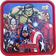 Kieana Kid's Plastic Marvel Lunch Box Food Container (Disney_tiffin_sq_1, Gold)