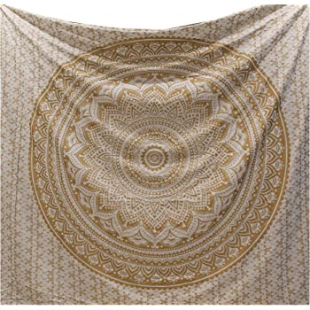 Top Selling Original Gold Mandala Ombre Tapestry Wall Hanging By RaajseeBoho Bohemian Hippie Tapestries Indian Dorm Decor Golden Twin BedspreadHippy