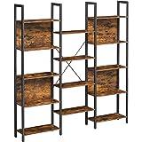 VASAGLE Bibliothèque, Étagère de Rangement, avec 14 Compartiments, Cadre en métal, pour Salon, Bureau, Style Industriel, 158
