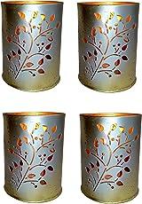 Design Villa Flower Design Multicolor Tealight Votive Candle Holder ( Pack of 4 )