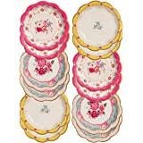 Talking Tables TS3-PLATE Pack of 12 (17cm) Disposable Tea Vintage Floral Pretty Paper Truly Scrumptious Elegant Party Plates