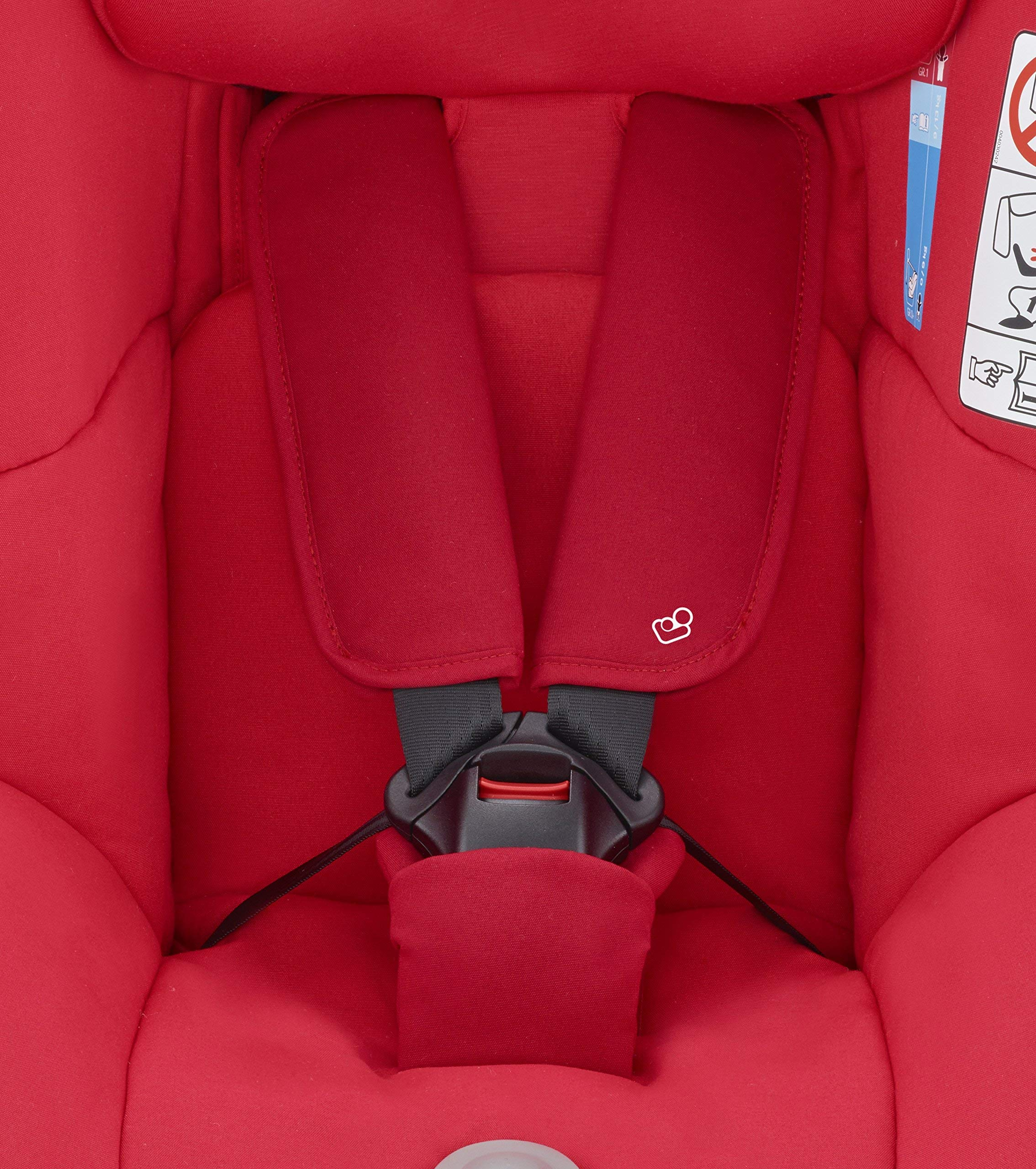 Maxi-Cosi MiloFix ISOFIX Combination Car Seat, Group 0+/1 car seat, Rear and Forward-facing, 0-4 years, 0-18 kg, Vivid Red Maxi-Cosi Rear and forward facing group 0+/1 car seat, suitable from birth to 18 kg (birth to 4 years) i-Size car seat, extended rearward-facing travel up until 18 months Padded seat and angled base provide additional leg room in rear-facing position 4