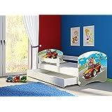 Clamaro 'Fantasia Weiß' 140 x 70 oder 160 x 80 Kinderbett Set (34 Motive) inkl. Matratze, Lattenrost und mit oder ohne Bettkasten Schublade, verstellbarer Rausfallschutz und Kantenschutzleisten