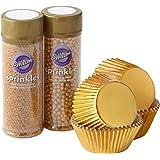 مجموعة تزيين الكب كيك الذهبية من ويلتون، 4 قطع - اكواب خبز ورشات ذهبية