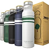 INDIGENA - Stainless Steel Water Bottle 350ml/500ml/650ml, Double Wall Insulated Flask for Water Coffee & Drinks 12h Hot 24h