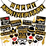 Wobbox Anniversary Photo Booth Party Props DIY Kit with Happy Anniversary Bunting Banner, Golden Gliter & Black , Anniversary