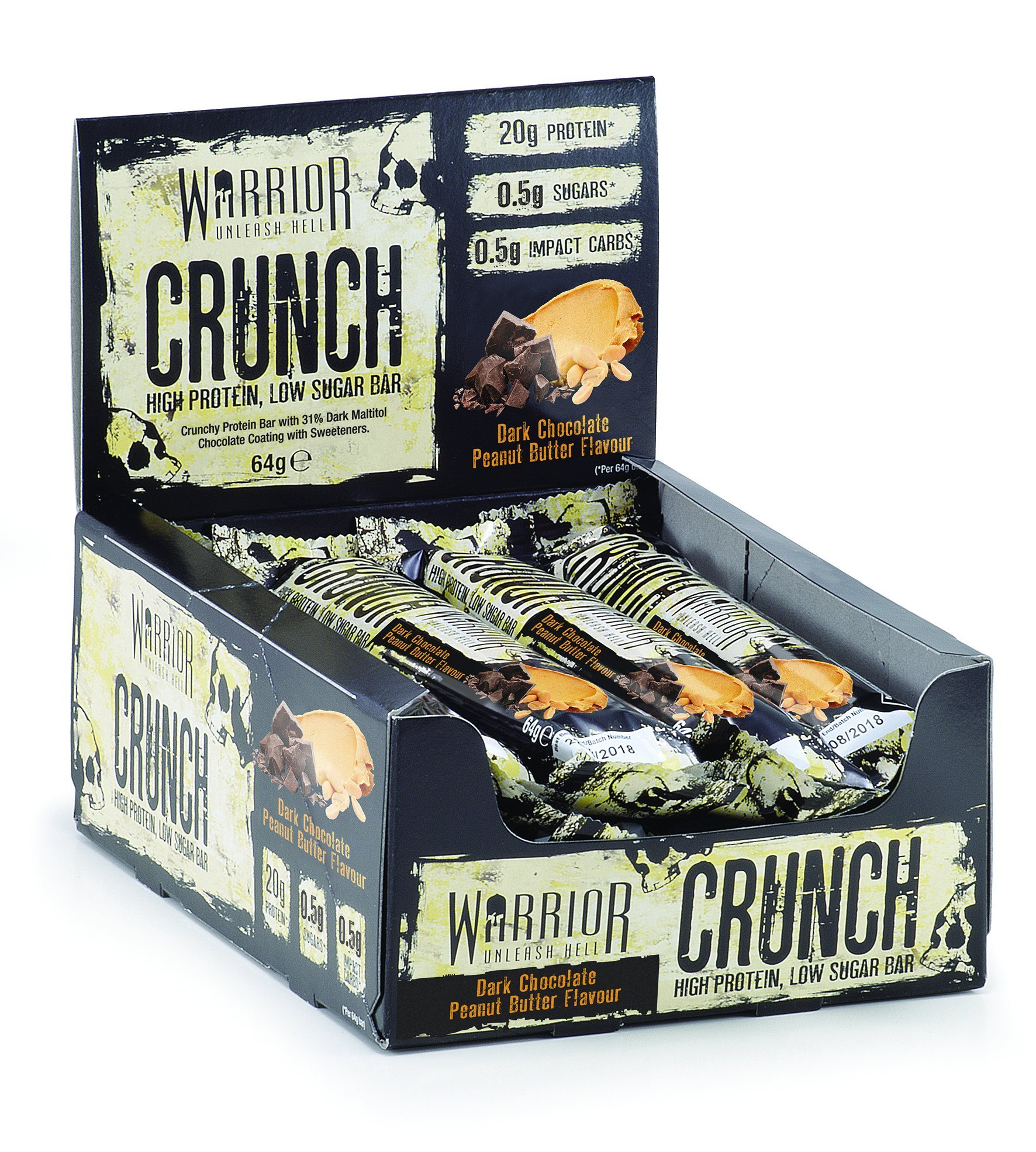 Warrior Crunch Protein Bar - High Protein Snack - Dark Chocolate Peanut Butter - 12x64g Bars 1