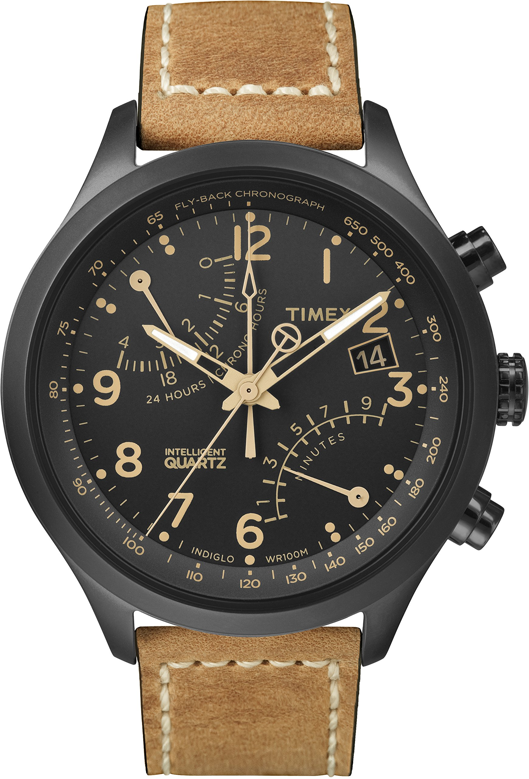 Timex Men's Intelligent Quartz Watch with Dial Fly-Back Chronograph Display and Leather Strap
