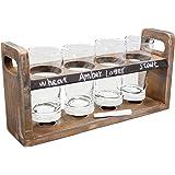 vin bouquet FIA 256 Set degustazione Birra con Vassoio in Legno e 4 Bicchieri in Cristallo