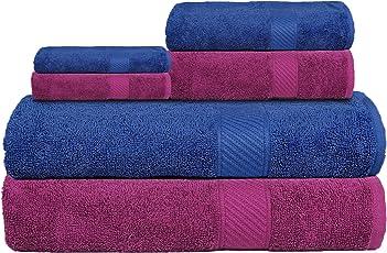 Casa Copenhagen Eternal 2 Large Bath, 2 Hand and 2 Face Towels Set (Pack of 6) - Midnight Blue & Deep Purple