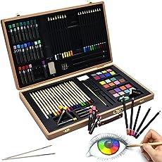 Artina 89tlg XXL Malset Genova Holzkoffer - Wachsmalstifte, Buntstifte Set, Wasserfarben, Pastelle, Pinsel, Zeichenset