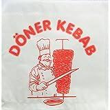 100 stuks döner - Kebab - zak / dönertasche (wit met motief / 16 x 16 cm)